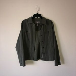 Thick soft army green button up collared jacket